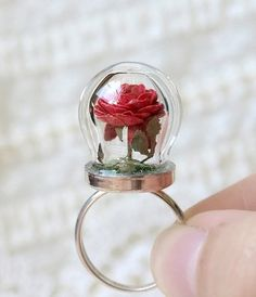 WoodlandBelle  Tiny Terrarium Red Rose Blossom Ring