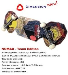Dimension Nomad - Team Edition pivotboard (aka snakeboard streetboard)