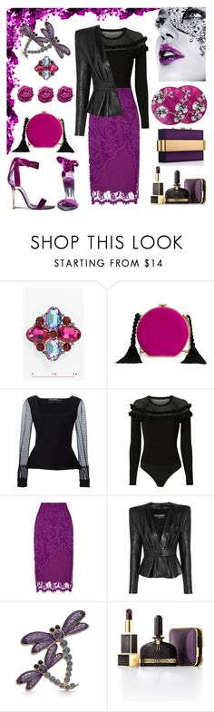 """Leather&Lace"" by ellenfischerbeauty ❤ liked on Polyvore featuring Masquerade, Tom Ford, Rauwolf, Cara Accessories, Piaget, Alessandra Rich, Roland Mouret, Exclusive for Intermix, For Love & Lemons and Balmain"