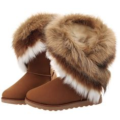 Faux-fur-trimmed High-top Snow Boots ($55) ❤ liked on Polyvore featuring shoes, boots, ugg, zapatos, blackfive, high top boots, high top shoes, faux fur trim boots, hi tops and snow boots