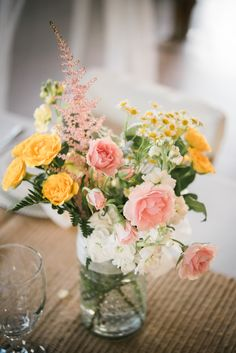 Wildflower and rose centerpieces | rustic chic wedding | Yellow Blush Pink Wildflowers | Elle & Kurt | Barn at Cedar Grove | Elaina Janes Photography