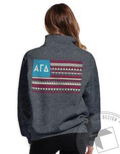 Alpha Gamma Delta - Flag Half Zips by ABD BlockBuy! Just $36.50 each plus shipping until Mar 25 | Adam Block Design | Custom Greek Apparel & Sorority Clothes | www.adamblockdesign.com
