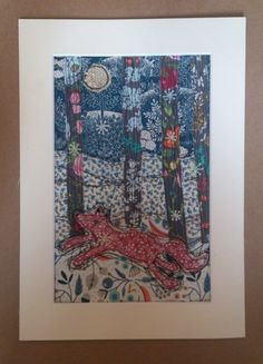 RaeBattesonArt copyright 2014 Fox in the Woods textile artwork