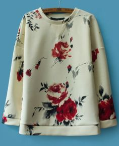 White Long Sleeve Floral Loose Sweatshirt EUR€23.70