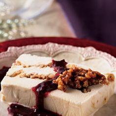 White Chocolate Praline Ice Cream Terrine with Blackberry-Raspberry Sauce