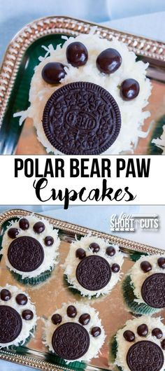 Holiday cupcakes with a twist! That is what these Polar Bear Paw Cupcakes are! My kids love animals of any kind, so I thought it would be fun to whip up some polar bear paw cupcakes to celebrate the cooler weather outside. Bear Cupcakes, Cupcake Cakes, Fun Cupcakes, Winter Cupcakes, Holiday Cupcakes, Cupcake Party, Snowman Cupcakes, Animal Cupcakes, Lemon Cupcakes