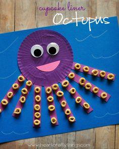 cupcake liner octopus craft – ocean kid craft – crafts for kids- kid crafts – ac… – Crafts for kids – Kids Craft & Activities Toddler Art, Toddler Crafts, Crafts Toddlers, Children Crafts, Arts And Crafts For Kids Easy, Preschooler Crafts, Daycare Crafts, Fun Crafts, Snowman Crafts