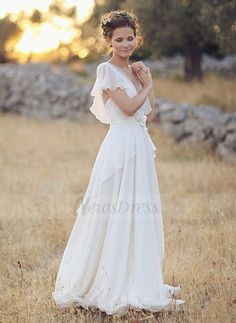A-Line/Princess V-neck Sweep Train Chiffon Wedding Dress With Beading Flower(s) (00205003449) - Vbridal