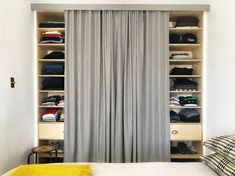 Ditch Your Closet Doors for a Tailored Curtain Architectural Digest Sliding Panel Curtains, Curtains For Closet Doors, Bedroom Closet Doors, Sliding Closet Doors, Curtain Closet, Curtain Wardrobe Doors, Bedroom Curtains, Replacing Closet Doors, Replacing Interior Doors