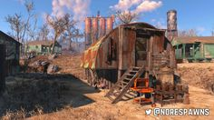 A shack built at Sunshine Tidings Co-Op in Fallout Fallout Art, Fallout New Vegas, Fallout 4 Settlement Ideas, Fallout Cosplay, Post Apocalyptic Art, Building Concept, Fall Out 4, Post Apocalypse, End Of The World