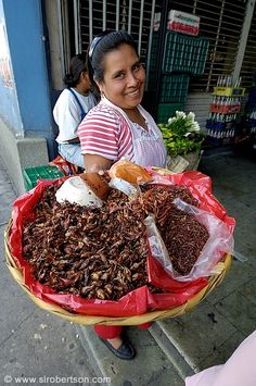 Woman selling chapulines (fried grasshoppers) at Mercado 20 de Noviembre - Oaxaca. Mexico