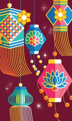 Portfolio of Kiki Ljung, an artist that specialises in bold vector graphics and beautiful decorative patterns. Diwali Cards, Diwali Greeting Cards, Diwali Diya, Diwali Greetings, Doodle Art Drawing, Drawing For Kids, Art For Kids, Indian Illustration, Graphic Illustration