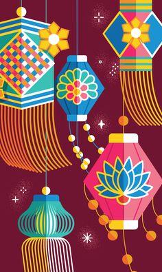 Portfolio of Kiki Ljung, an artist that specialises in bold vector graphics and beautiful decorative patterns. Diwali Cards, Diwali Diya, Diwali Greetings, Doodle Art Drawing, Drawing For Kids, Art For Kids, Indian Illustration, Graphic Illustration, Vector Illustrations