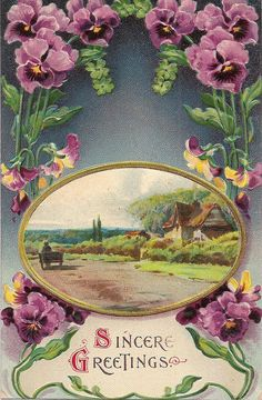 Antique Pansies Sincere Greetings Postcard Dated by VintagePackRat, $5.00