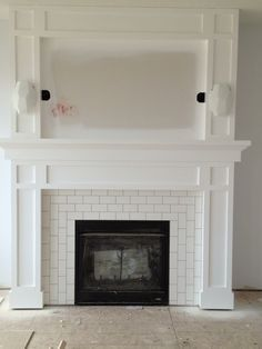 Fireplace Tile Surround, Tiled Fireplaces, Fireplace Tiles, Fireplace Surrounds, Fireplace Design, Fireplace Subway, Wood Surround, Fireplace Update, ...