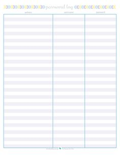 free printable password log, | ScatteredSquirrel.com