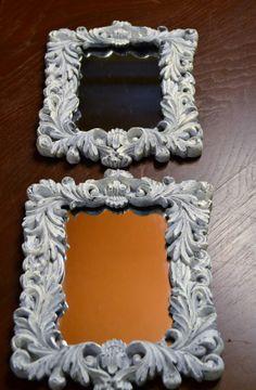 Pair Mirrors  Retangular White Shabby Chic by LittlestSister, $25.00