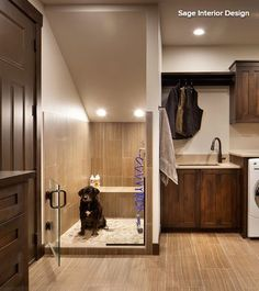 Don't forget Max. A laundry room is a great space for including pet-friendly features, especially if your laundry area is located by a back or side entrance. A pet-washing station like the one pictured here is great for washing off mud, lake water or that mysterious smell your dog just rolled in.