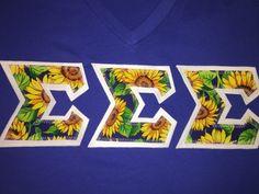 Sunflower Greek Lettered Shirt Sorority by GreekLetters13 on Etsy