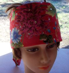 BANDANA Handmade Womens COTTON BLINGED Red Crystal by silcoon52, $14.00