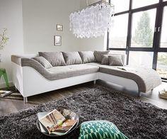 DELIFE Couch Cadiz Weiss Hellgrau 261x204 cm geschwungene Armlehne