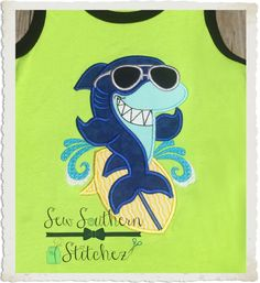 Instant Download Shark on Surfboard by SewSouthernStitchez on Etsy