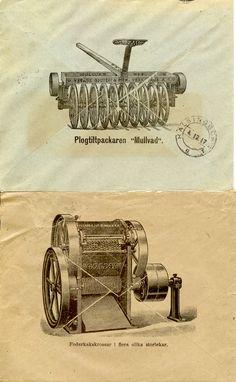 """Reklam på brevbaksidor från Ystads Gjuteri & Mekaniska Verkstads Aktiebolag Plogtilipackaren """"Mullvad"""" och Foderkrossen """"Goliat"""""""