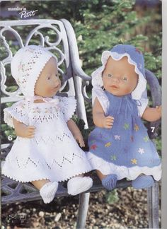 Albumarkiv Knitted Doll Patterns, Knitted Dolls, Baby Knitting Patterns, Baby Patterns, Knitting Dolls Clothes, Crochet Doll Clothes, Doll Clothes Patterns, Baby Born Clothes, Bitty Baby Clothes