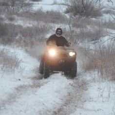Winter ATV riding. Includes windchill link.