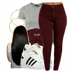 gold hoops, adidas sneakers, and long straight black hair oxblood