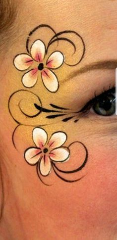Discover recipes, home ideas, style inspiration and other ideas to try. Face Painting Flowers, Face Painting Designs, Body Painting, Maquillage Halloween, Halloween Makeup, Cheek Art, Simple Face, Kids Makeup, Make Up Art