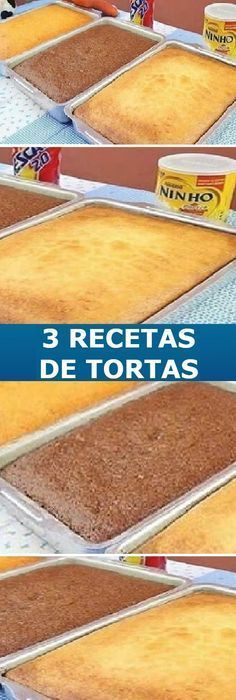 3 recetas de Tortas más buscados de Internet… #3recetas #3tortas #tortas #internet #receta #recipe #panes #panecillos #pancitos #pan #casero #tartas #pastel #nestlecocina #bizcochito #postres #tasty #cocina #cheesecake #helados #gelatina #gelato #flan #budin #pudin #flanes #cakes #panfrances #panettone #pantone #panetone #navidad #chocolate Si te gusta dinos HOLA y dale a Me Gusta MIREN... Brownie Desserts, Brownie Cake, No Bake Desserts, Food Cakes, Cupcake Cakes, Sweet Recipes, Cake Recipes, Pan Dulce, Sweets
