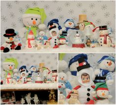 December 8, 2013 ~ Pauly created a winter wonderland filled with snowmen last night on top of our tv stand! We almost didn't see him hiding there right in the middle of all his new friends!