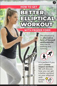 The elliptical is an alternative form of focused cardiovascular exercise to walking and running. It is perfect for anyone wanting a lower impact workout. I will discuss how you can get a better elliptical workout with proper form. #sunnyhealthfitness #elliptical #ellipticalworkout #workoutform #properform How To Get Better, How To Run Longer, Health And Fitness Articles, Health Fitness, Traps Muscle, Cardiovascular Training, Walking Exercise, Low Impact Workout, Abdominal Muscles
