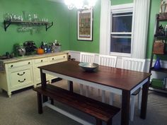 This Table Bench Seat And Chairs IKEA Norden Refinished