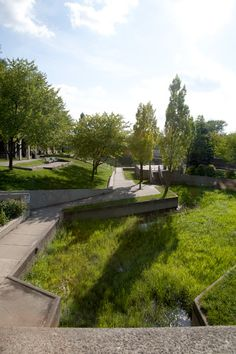 Riverbank Park, Flint, MI.  Designed by Satoru Nishita at Halprin and Associates