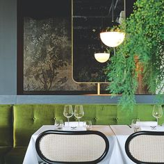 """CONCIERGE: The brief for French designer Claude Cartier's first-ever restaurant project, located in Chaponost, to the west of Lyon, was clear. """"It had to be a chic brasserie that was neither too trendy nor boringly traditional,"""" Cartier recalls. Furnishings @la_foret_noire designed by @claude_cartier_decoration include 'Bodystuhl' chairs by Nigel Coates for Gebrüder Thonet Vienna; 'Suspension 01' ceiling fixture from @magic_circus_editions and 'Midsummer Night' wallpaper by Lorenzo De…"""