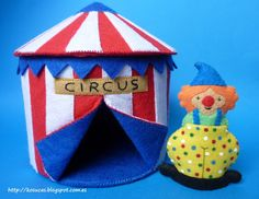 Payaso y circo de fieltro.  Circus and Clown felt