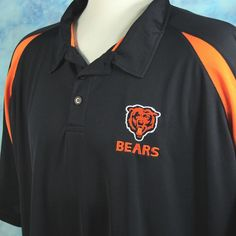 Chicago BEARS NFL Mens 5X Poly Embroidered Polo Golf Football Shirt XXXXXL  #NFL #PoloRugby