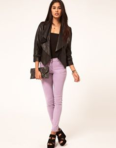 ASOS Leather Jacket With Waterfall Collar