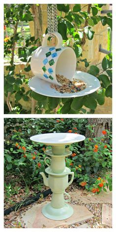"DIY Thrifted Dishes Bird Feeder and Bird Bath from Morena's Corner. I've gotten a message asking for more outdoor DIYs, and these are just a variation on the ""glue and stick"" cake stands. Top Photo: Tea Cup Bird Feeder Tutorial from Morena's Corner at Dollar Store Crafts here. Bottom Photo: Tea Pot Bird Bath Tutorial from Morena's Corner here."