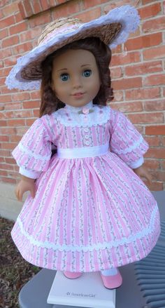 """18"""" Doll Clothes Historical Civil War Style Gown and Hat For Spring Fits American Girl Marie Grace, Cecile, Addy"""