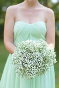 mint dress + baby's breath bouquet. Photography by abbycaldwellphotography.com, Event   Floral Design by thekeptnest.com