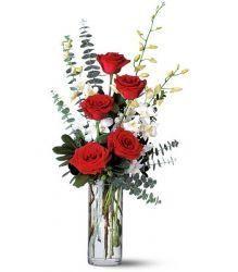 Rose rouge et Dendrobrium