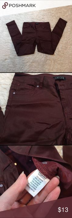 """Burgundy moto pants Never worn, deep red-burgundy, faux leather pants in size medium. They have a little stretch to them so they're """"skinny jeans"""" meant to hug any curve. All pockets are functional! 14"""" waist, 36"""" long, 27"""" inseam Forever 21 Pants Ankle & Cropped"""