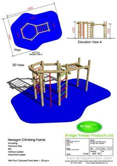 Hexagonal Climber & Monkey Bars   Wooden Climbing Frames   Schools