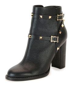 X2R9P Valentino Rockstud Chunky-Heel Boot, Black