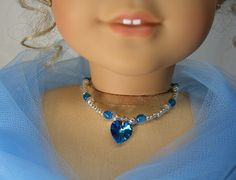 BLUE HEART Titanic NECKLACE for American Girl Dolls Glass Beads with silver for Elizabeth Felicity Cecile via Etsy