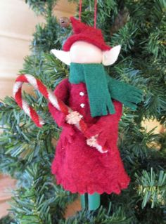 Girl Elf Christmas Ornament Clothespin Red by ModerationCorner Cute Christmas Decorations, Diy Christmas Ornaments, Felt Christmas, Felt Ornaments, Craft Stick Crafts, Christmas Projects, Handmade Christmas, Christmas Crafts, Christmas Time