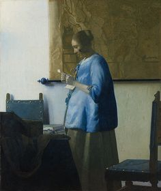 Johannes Vermeer: Woman in Blue Reading a Letter (Getty Center Installation) Vermeer, as many painters of his time, employed a very limited palette. The only substantial difference in his palette in respects to those of his contemporaries was the extensive use of natural ultramarine (pure lapis lazuli) rather than the much cheaper azurite.